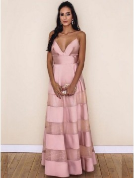 A-line Spaghetti Straps Sleeveless Floor Length Pink Stain Prom Dress