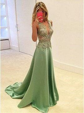 A-Line V-Neck Sweep Train Mint Stretch Satin Prom Dress with Appliques