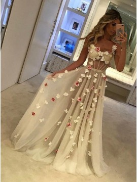 A-Line Spaghetti Straps Pleated White Tulle Long Prom Dress with Flowers