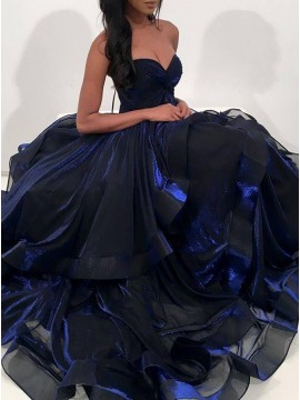 Ball Gown Sweetheart Gorgeous Dark Blue Tiered Prom Dress