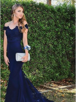 Mermaid Off-the-Shoulder Button Dark Blue Beaded Prom Dress with Appliques