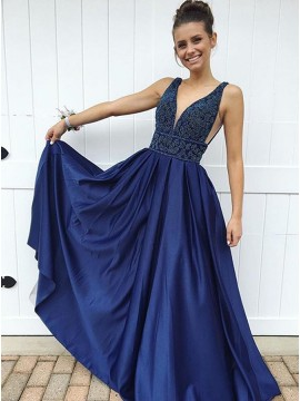 A-Line V-Neck Floor-Length Dark Blue Prom Dress with Appliques