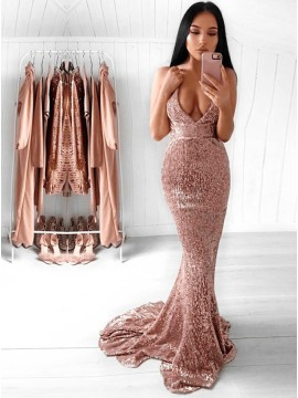 Mermaid Deep V-Neck Backless Sexy Sequined Prom Dress with Train