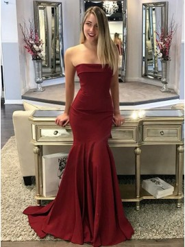 Mermaid Strapless Sweep Train Burgundy Prom Dress with Pleats