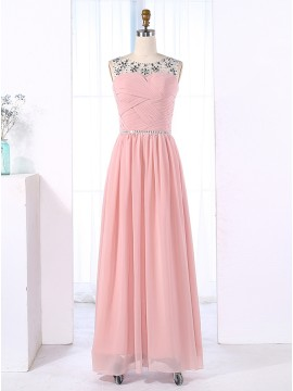 A-Line Bateau Floor-Length Ruched Pink Chiffon Prom Dress with Beading