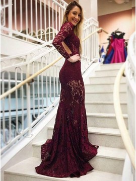Mermaid High Neck Backless Long Sleeves Burgundy Lace Prom Dress with Pockets