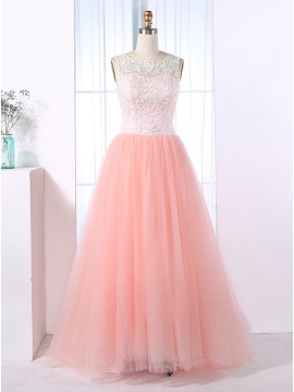 A-Line Scoop Floor-Length Buttons Pink Tulle Prom Dress with Lace