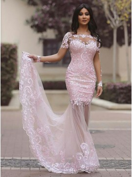 Mermaid Off-the-Shoulder Long Sleeves Pink Prom Dress with Appliques Beading