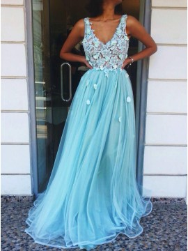 A-Line V-Neck Floor-Length Blue Prom Dress with Appliques