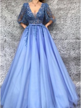 A-Line V-Neck Half Sleeves Lavender Prom Dress with Appliques
