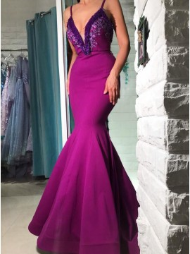 Mermaid V-Neck Floor-Length Purple Prom Dress with Appliques