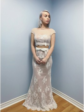 Two Piece Bateau Cap Sleeves Floor-Length Ivory Lace Prom Dress