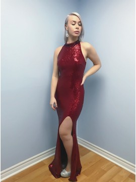 Mermaid Jewel Floor-Length Dark Red Sequined Prom Dress with Split