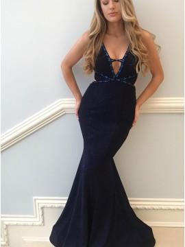 Mermaid V-Neck Floor-Length Navy Blue Prom Dress with Beaing