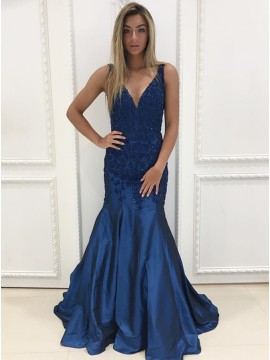 Mermaid V-Neck Floor-Length Dark Blue Prom Dress with Beading
