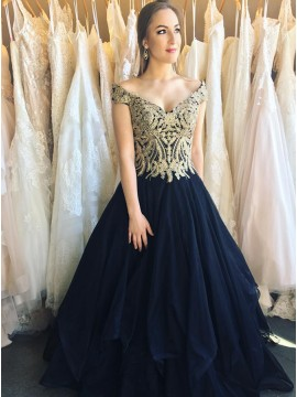A-Line Off-the-Shoulder Navy Blue Prom Dress wih Appliques