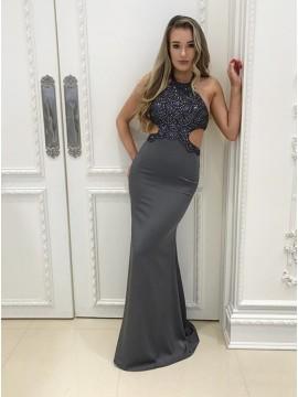 Mermaid Jewel Floor-Length Grey Prom Dress with Beading