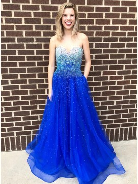 A-Line Sweetheart Floor-Length Royal Blue Prom Dress with Beading Pockets