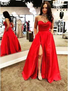 A-Line Sweetheart Floor-Length Red Split Prom Dress with Pockets Ruched