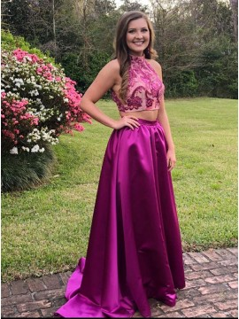 Two Piece High Neck Sweep Train Fuchsia Prom Dress with Appliques