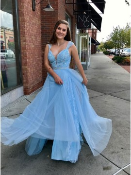 A-Line Straps Floor-Length Light Blue Prom Dress with Lace Beading