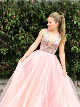 A-Line V-Neck Floor-Length Pink Tulle Prom Dress with Beading
