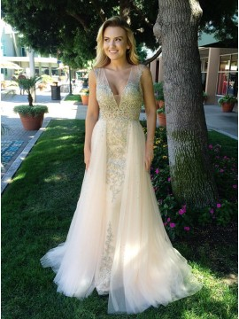 Mermaid V-Neck Sweep Train  Light Champagne Prom Dress with Beading