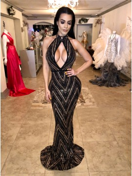 Mermaid Halter Backless Floor-Length Black Beaded Prom Dress with Keyhole