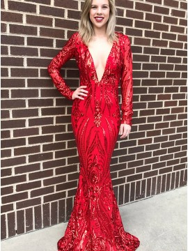 Mermaid Deep V-Neck Long Sleeves Floor-Length Red Prom Dress with Sequins