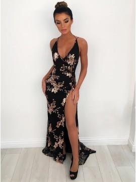 Mermaid V-Neck Backless Floor-Length Black Prom Dress with Appliques Split