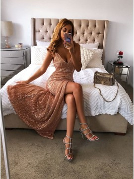 Mermaid V-Neck Floor-Length Blush Sequined Prom Dress with Split