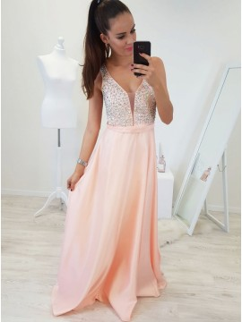 A-Line V-Neck Floor-Length Pearl Pink Prom Dress with Beading