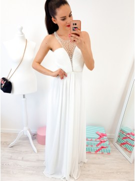 A-Line Crew Floor-Length White Chiffon Prom Dress with Pearls