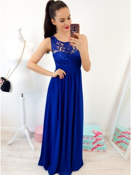 A-Line Round Neck Floor-Length Royal Blue Prom Dress with Lace Pleats
