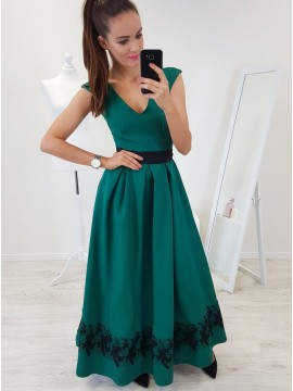 A-Line V-Neck Cap Sleeves Floor-Length Dark Green Prom Dress with Lace Pleats