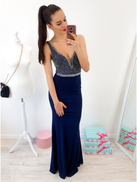 Mermaid V-Neck Floor-Length Navy Blue Prom Dress with Beading