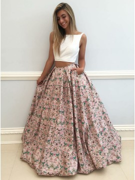 a4d9c21c92ac Two Piece Square Floor-Length Blush Printed Prom Dress .
