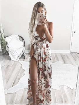 A-Line Deep V-Neck  Criss-Cross Straps White Printed Chiffon Prom Dress with Split