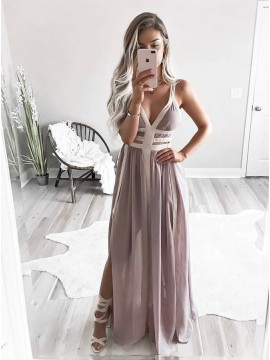 A-Line Straps Floor-Length Grey Chiffon Pleated Prom Dress with Split