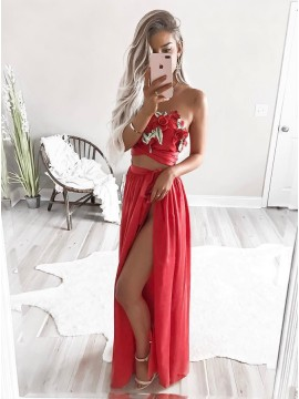 Two Piece Strapless Floor-Length Red Chiffon Prom Dress with Appliques
