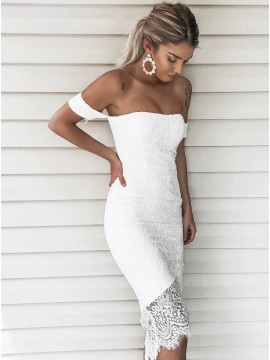 Sheath Off-the-Shoulder Short Sleeves High Low White Lace Cocktail Dress