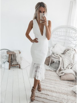 Mermaid Deep V-Neck Mid-Calf White Lace Prom Dress