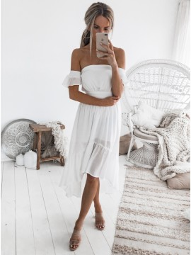 A-Line Off-the-Shoulder Short Sleeves High Low White Chiffon Prom Dress with Pleats