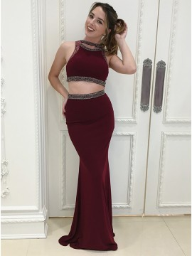 Two Piece Jewel Floor-Length Burgundy Prom Dress with Beading