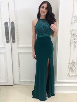 Mermaid Jewel Floor-Length Dark Green Prom Dress with Lace Split
