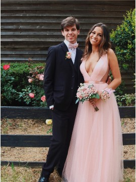 A-Line Deep V-Neck Sleeveless Floor-Length Pink Prom Dress with Pleats