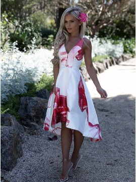 A-Line V-Neck Sleeveless High Low White Satin Printed Prom Dress