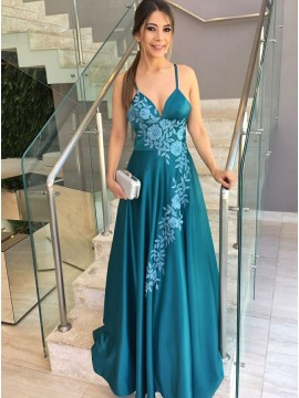 A-Line Spaghetti Straps Backless Blue Prom Dress with Appliques