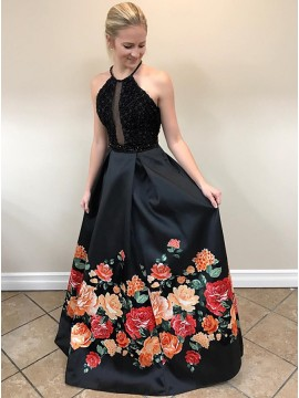 A-Line Halter Backless Floor-Length Black Printed Prom Dress with Beading