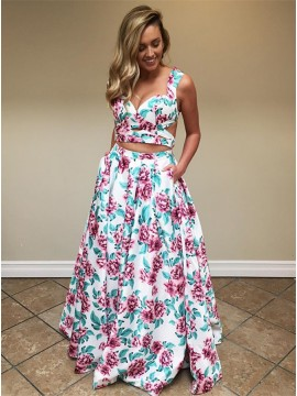 Two Piece Straps Floor-Length White Printed Prom Dress with Pockets